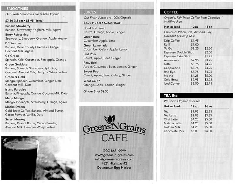 Natural and organic food at Greens N Grains Cafe